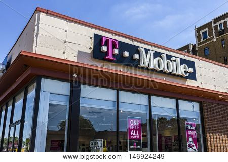 Indianapolis - Circa September 2016: T-Mobile Retail Wireless Store. T-Mobile is a wireless provider offering cell phones data plans and accessories V