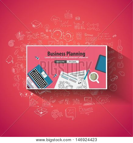 Business Planning concept wih Doodle design style :finding solution, brainstorming, creative thinking. Modern style illustration for web banners, brochure and flyers.