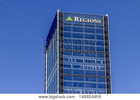 Indianapolis - Circa September 2016: Regions Financial Corporation. Regions is the only member of the Fortune 500 headquartered in Alabama IV