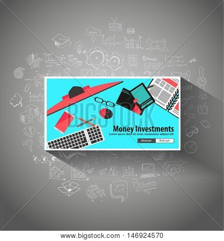Money Investment concept with Doodle design style saving solution, investmen studies, stock graphs. Modern style illustration for web banners, brochure and flyers.