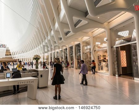 New York NY USA - September 3 2016 Interior view of the oculus from the lower level facing West in downtown New York