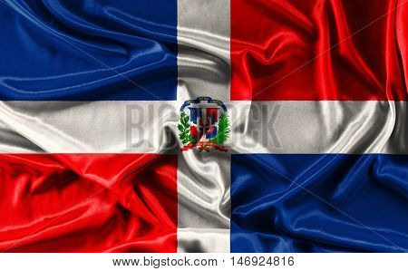 Flag of Dominican Republic waving fabric background, wallpapers, close-up