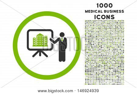 Architecture Presentation rounded glyph bicolor icon with 1000 medical business icons. Set style is flat pictograms, eco green and gray colors, white background.