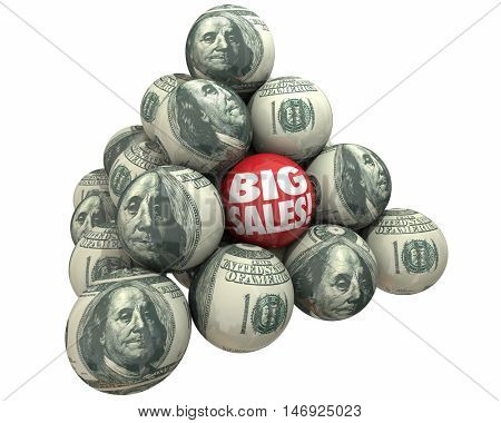 Big Sales Increase Selling Customers Ball Pyramid 3d Illustration