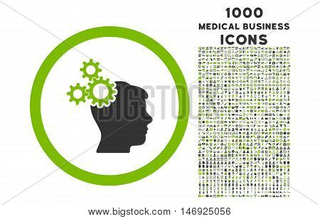 Business Idea rounded glyph bicolor icon with 1000 medical business icons. Set style is flat pictograms, eco green and gray colors, white background.