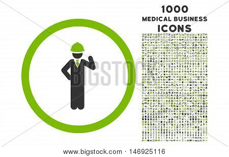 Engineer rounded glyph bicolor icon with 1000 medical business icons. Set style is flat pictograms, eco green and gray colors, white background.
