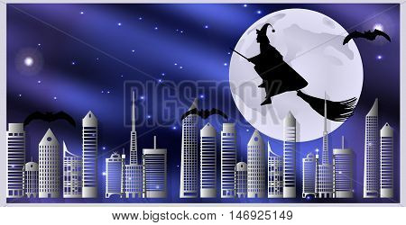 Vector Illustration Postcard For Halloween. Witch On A Broom And Bats Are Flying Over The City On A