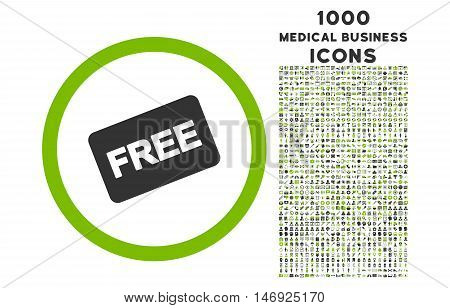 Free Card rounded glyph bicolor icon with 1000 medical business icons. Set style is flat pictograms, eco green and gray colors, white background.