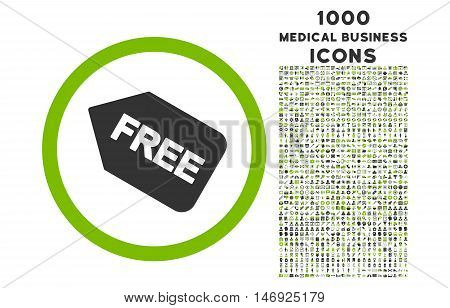 Free Sticker rounded glyph bicolor icon with 1000 medical business icons. Set style is flat pictograms, eco green and gray colors, white background.