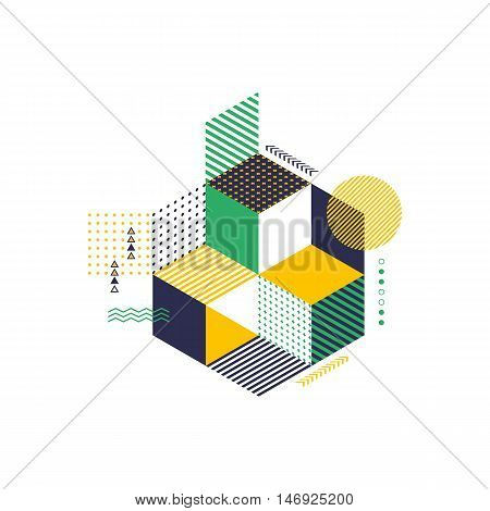 Abstract geometric modern retro style background futuristic shape vector illustration