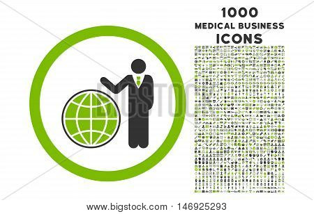 Global Manager rounded glyph bicolor icon with 1000 medical business icons. Set style is flat pictograms, eco green and gray colors, white background.