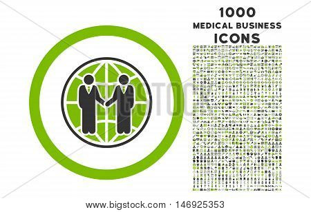 Global Partnership rounded glyph bicolor icon with 1000 medical business icons. Set style is flat pictograms, eco green and gray colors, white background.