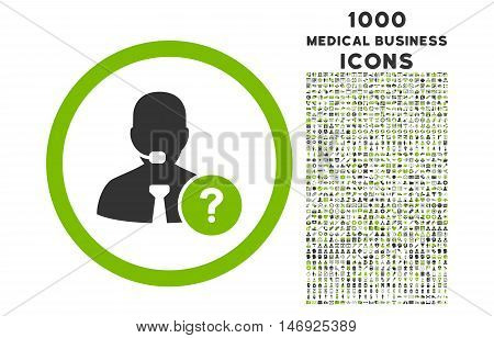 Online Support rounded glyph bicolor icon with 1000 medical business icons. Set style is flat pictograms, eco green and gray colors, white background.