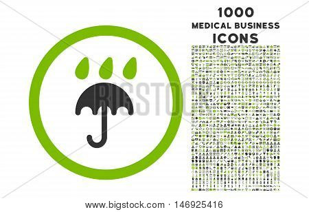 Rain Protection rounded glyph bicolor icon with 1000 medical business icons. Set style is flat pictograms, eco green and gray colors, white background.