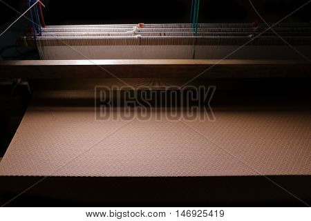 Traditional weaving hand loom for silk cloth in Thailand