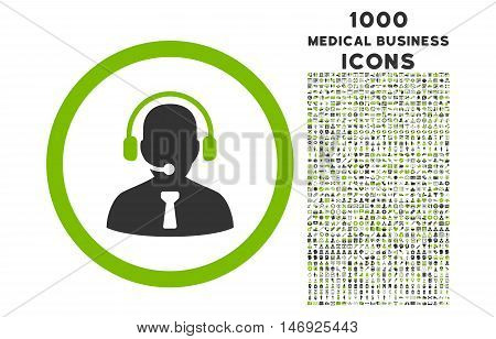 Reception Operator rounded glyph bicolor icon with 1000 medical business icons. Set style is flat pictograms, eco green and gray colors, white background.