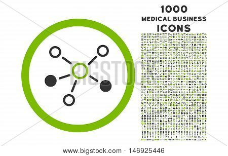 Relations rounded glyph bicolor icon with 1000 medical business icons. Set style is flat pictograms, eco green and gray colors, white background.