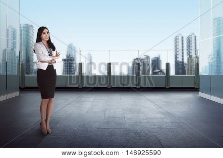 Success Business Woman Standing Rooftop