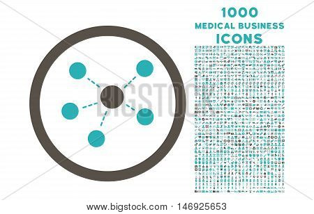 Connections rounded glyph bicolor icon with 1000 medical business icons. Set style is flat pictograms, grey and cyan colors, white background.