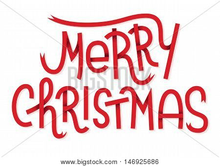 Merry Christmas  Lettering Isolated On White. Typographic Greeting Card With White Background