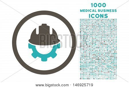 Development rounded glyph bicolor icon with 1000 medical business icons. Set style is flat pictograms, grey and cyan colors, white background.