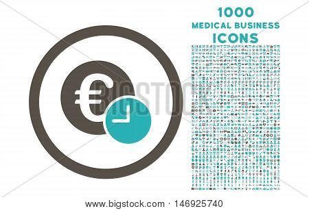 Euro Credit rounded glyph bicolor icon with 1000 medical business icons. Set style is flat pictograms, grey and cyan colors, white background.