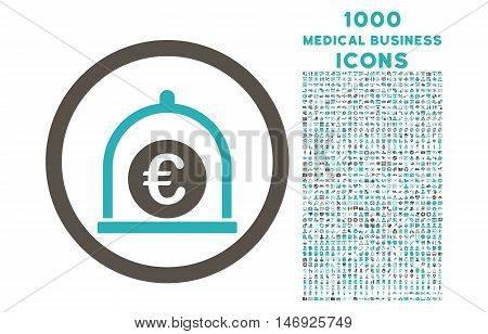 Euro Standard rounded glyph bicolor icon with 1000 medical business icons. Set style is flat pictograms, grey and cyan colors, white background.