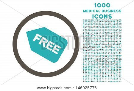 Free Sticker rounded glyph bicolor icon with 1000 medical business icons. Set style is flat pictograms, grey and cyan colors, white background.