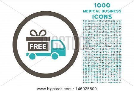 Gift Delivery rounded glyph bicolor icon with 1000 medical business icons. Set style is flat pictograms, grey and cyan colors, white background.