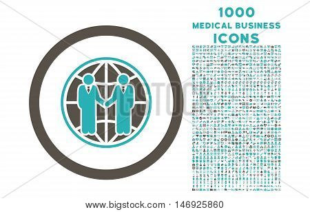 Global Partnership rounded glyph bicolor icon with 1000 medical business icons. Set style is flat pictograms, grey and cyan colors, white background.