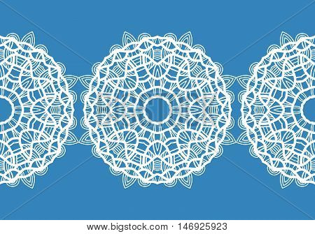 White snowflakes. Christmas pattern. Circular ornament and decorative lace. Vector illustration