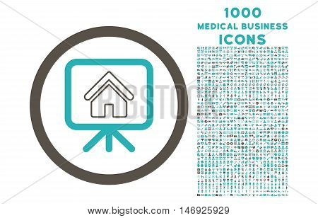 Project Slideshow rounded glyph bicolor icon with 1000 medical business icons. Set style is flat pictograms, grey and cyan colors, white background.