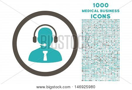 Reception Operator rounded glyph bicolor icon with 1000 medical business icons. Set style is flat pictograms, grey and cyan colors, white background.
