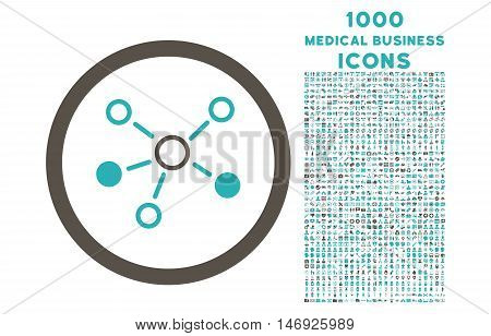 Relations rounded glyph bicolor icon with 1000 medical business icons. Set style is flat pictograms, grey and cyan colors, white background.