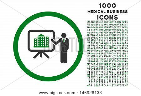 Architecture Presentation rounded glyph bicolor icon with 1000 medical business icons. Set style is flat pictograms, green and gray colors, white background.