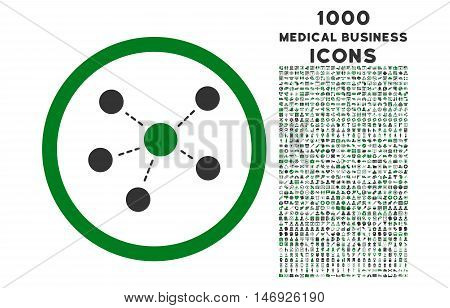 Connections rounded glyph bicolor icon with 1000 medical business icons. Set style is flat pictograms, green and gray colors, white background.