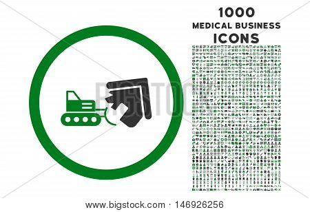 Demolition rounded glyph bicolor icon with 1000 medical business icons. Set style is flat pictograms, green and gray colors, white background.