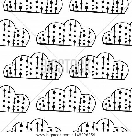 Black and white seamless pattern with decorative clouds for coloring book. Vector illustration