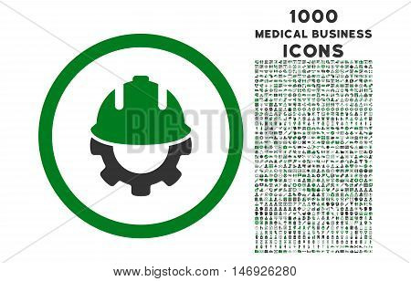 Development rounded glyph bicolor icon with 1000 medical business icons. Set style is flat pictograms, green and gray colors, white background.