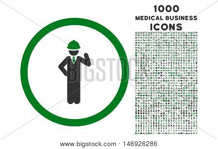 Engineer rounded glyph bicolor icon with 1000 medical business icons. Set style is flat pictograms, green and gray colors, white background.