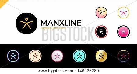 Circle Initial Line Letter X Man Logo Design Template Set. 11 Color Logotype. Different Style