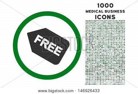 Free Sticker rounded glyph bicolor icon with 1000 medical business icons. Set style is flat pictograms, green and gray colors, white background.