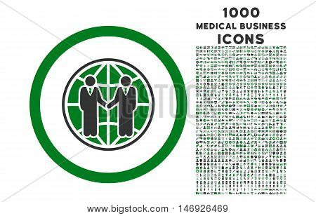 Global Partnership rounded glyph bicolor icon with 1000 medical business icons. Set style is flat pictograms, green and gray colors, white background.