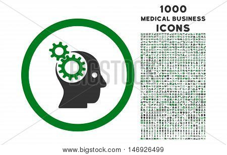Intellect Gears rounded glyph bicolor icon with 1000 medical business icons. Set style is flat pictograms, green and gray colors, white background.
