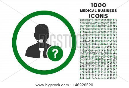 Online Support rounded glyph bicolor icon with 1000 medical business icons. Set style is flat pictograms, green and gray colors, white background.
