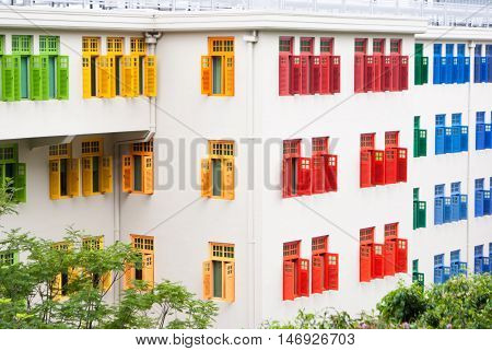 Modern Building With Colorfull Windows In Singapore
