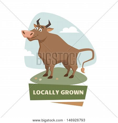 Bull on field label or badge. Farm meet logo. Natural food, organic product, locally grown. Cartoon bull on green grass. Cute and funny bull. Farmers market label