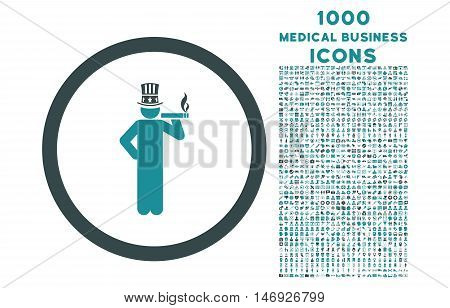 American Capitalist rounded glyph bicolor icon with 1000 medical business icons. Set style is flat pictograms, soft blue colors, white background.