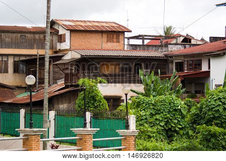 Old Wooden Buildings In The Capital Of Laos