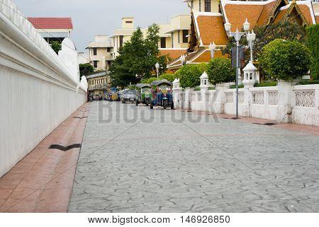Сarved Oriental Buildings In Bangkok Temple, Thailand